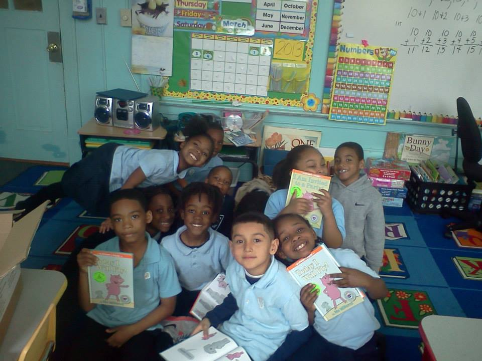 Happy classroom of readers